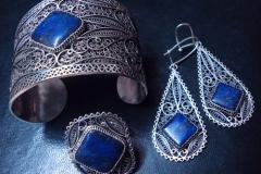 /Magical Lapis/ Sterling Silver Filigree Sets / Lapis Lazuli, two 1.0 x 1.0 cm, two 2.0 x 2.0 cm